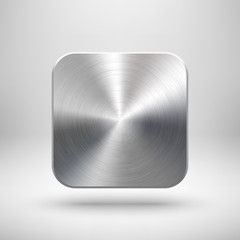 Fototapete - Abstract App Icon Template with Metal Texture