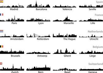 vector skylines of european cities