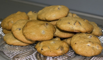 Homemade Chocolate Chip Cookies on Decorative Glass Platter