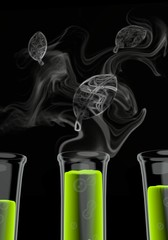 3d graphic of a bio leave symbol formed by smoke