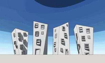 Illustration caricature architecture, comic buildings