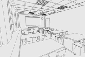 cartoon image of classroom interior