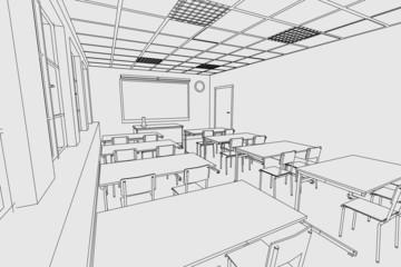 cartoon image of classroom interior