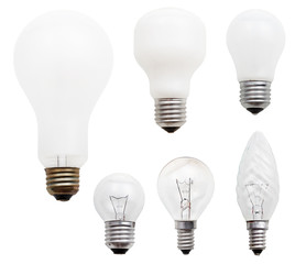 set of usual incandescent light bulbs