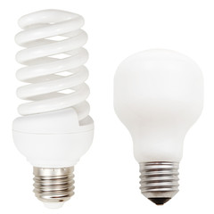 incandescent and helical fluorescent light bulbs