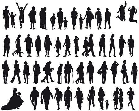 Set Menschen - silhouette - schwarz - vektor, unterschiedliches Alter, Generationen, jung und alt, gemischte Nutzung, Gesellschaft in Aktion, Aktivität und Bewegung