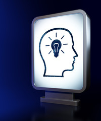 Education concept: Head With Lightbulb on billboard background
