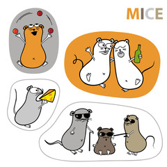 Set of cartoon vector mouse illustrations