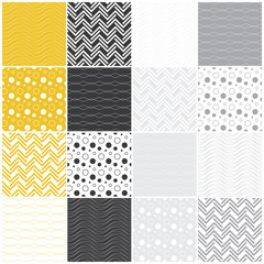 geometric seamless patterns: waves, circles, dots, lines