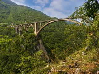 concrete arch bridge over the river Tara in northern Montenegro