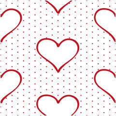 Seamless pattern: red hearts on a red circles background