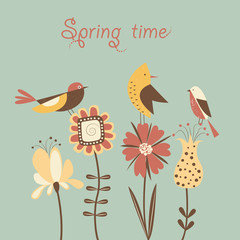 Spring flowers and birds. Vector