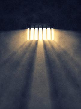 Prison cell interior , barred window , Freedom
