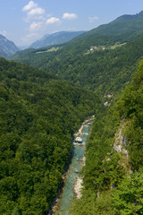 Tara River, which flows through bottom of the canyon, Montenegro