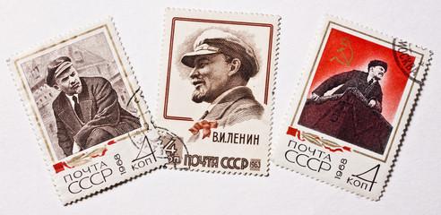 Soviet Union retro post stamps. Lenin