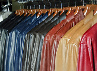 leather jackets hanging in the apparel