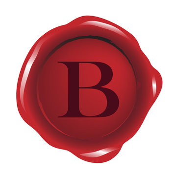 Red seal wax with alphabet letter B vector