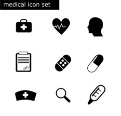 9 medical icon set vector