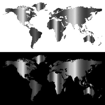Metallic world map, industrial concept abstract design.