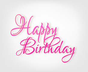 Happy Birthday card with pink decorative inscription