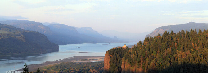 Vista House at sunset in Columbia River Gorge