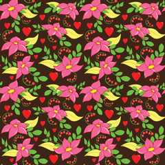 Seamless Love Flower Pattern