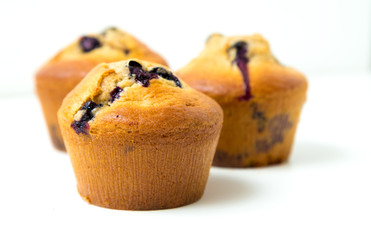 Fototapete - Blueberry muffins on white background