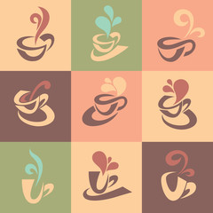 coffee and tea icons tags and banners