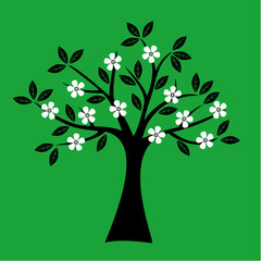 Simple spring tree silhouette on green background