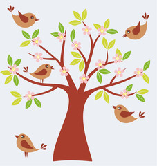 Vector illustration of spring tree with cute birds.