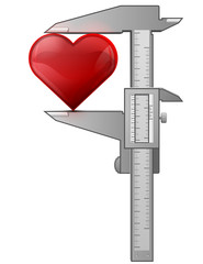 Concept of heart symbol and measuring tool (caliper)