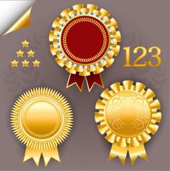 Vector set of red and gold award ribbon badges.