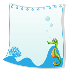 An empty paper template with a seahorse