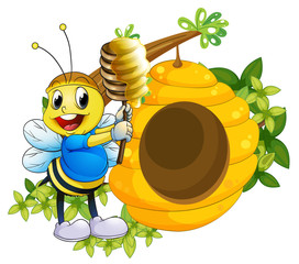 A happy bee playing with the honey near the beehive