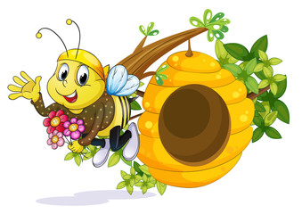 A bee with flowers near the beehive