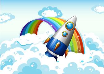 A rocket near the rainbow