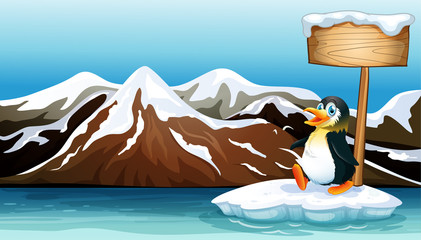 A penguin above the iceberg with an empty wooden signboard