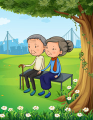 Two old couple at the park