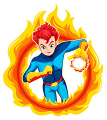 A flaming superhero