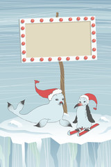 Seal, Penguin and Guide Board