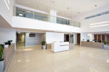 Spacious empty reception hall in modern building