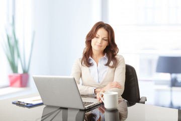 Beautiful business woman with laptop in office