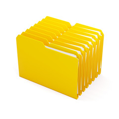 Illustration of folders with paper, isolated over white