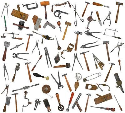 vintage tools mix collage