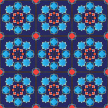 Vector Illustration of a seamless Turkish Tile.
