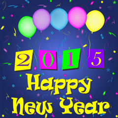 New Year-2015 Colorful Balloons and Scattered Confetti