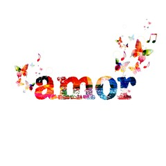 """Colorful vector """"amor"""" background with butterflies"""