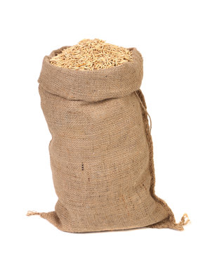 Wheat grains in the bag.