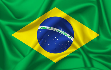 Flag of Brazil waving with silky look Wall mural