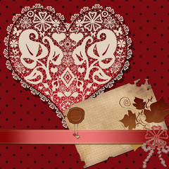 Invitation vintage letter paper with lacy heart on red dotted